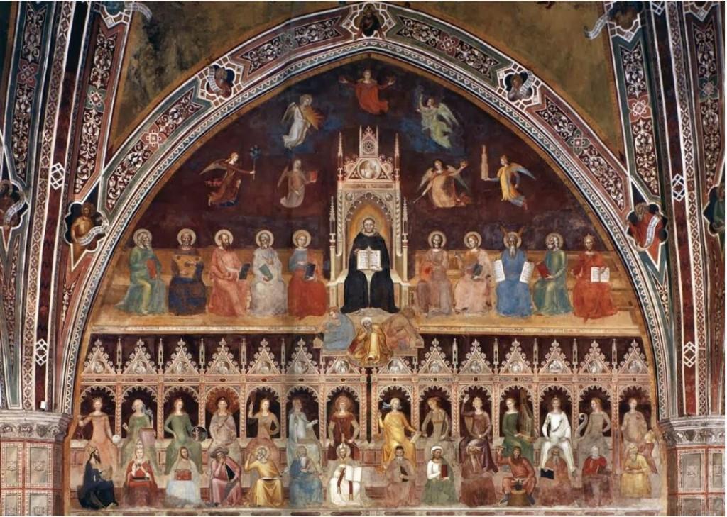Andrea di Bonaiuto, Triomphe de saint Thomas d'Aquin, 'église Santa Maria Novella, Florence, 1365-67