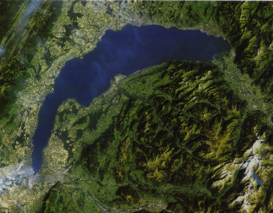 Landsat-5 TM. Région du lac Léman. 06/09/86, 9h30. Altitude du satellite 705 km. Largeur explorée 185 km.